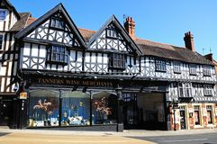 Tanners Wine Merchants, Shrewsbury. Tanners Wine Merchants timber-framed building, Shrewsbury, Shropshire, England, UK, Western Europe Stock Photography