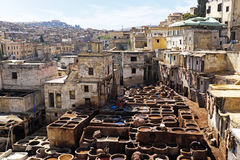 Tanners working leather in the old tannery of Fes, Morocco Royalty Free Stock Images