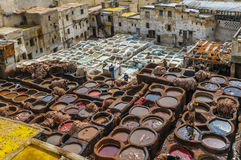 Tannery in ancient Fez, Morocco Stock Photos