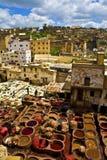 Tannery em Fez, Marrocos Foto de Stock