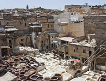 Tannery in Fes. Traditional leather tannery in Fes (Morocco Stock Image