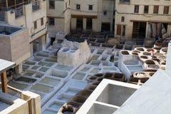 tannery Fes medina, Marrocos África Imagens de Stock Royalty Free