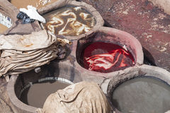 Tannery in Fez with colors Royalty Free Stock Photos