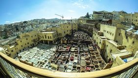 Tannery In Fez Medina in Morocco stock images