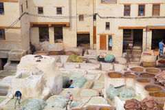 A tannery at Fez, Morocco. A tannery in the middle of the Medina of Fez, Morocco Stock Images