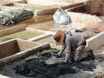 Tannery at Marrakesh, Morocco royalty free stock photography