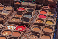 Tannery tanks in Fes, Morocco Stock Image
