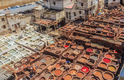 Tannery tanks in Fes, Morocco Stock Photography