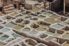 Tannery tanks in Fes, Morocco Royalty Free Stock Image