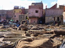 Tannery tanks in Marrakech Morocco. Tannery tanks in Marrakech, Morocco Stock Photo