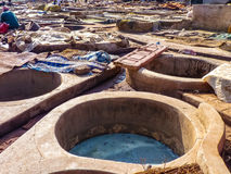 Tannery tanks in Marrakech Morocco Stock Image