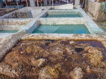 Tannery tanks with skins in Marrakech Morocco Royalty Free Stock Photo