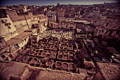 Tannery. View of a tannery, tinting leather, Fez, Morocco Stock Images