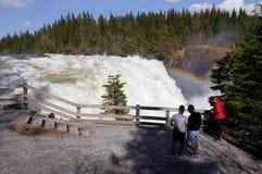 Tannforsen vattenfall som beskådar område royaltyfria bilder