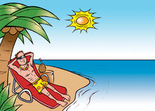 Tanning on a beach. Cartoon illustration of a man tanning on a beach Royalty Free Stock Photo