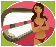 Tanning Bed - Brunette. Brunette woman in a bikini - at an indoor tanning booth Stock Illustration