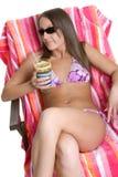 Tanning Bikini Girl Stock Image
