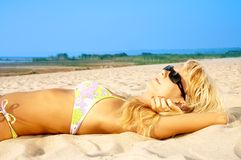 Tanning blond Royalty Free Stock Photo