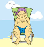 Tanning in chair Royalty Free Stock Images