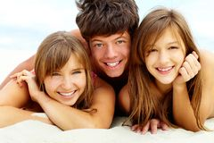 Tanning friends Royalty Free Stock Photos