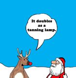 Tanning Lamp. Christmas cartoon of Rudolph telling Santa Claus his bright nose doubles as a tanning lamp Stock Photos