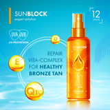 Tanning oil with UV protection and vitamins. Tanning oil bottle droplet with UV protection. Sunblock SPF gold tanning with vitamins. UV protection solution Royalty Free Stock Images