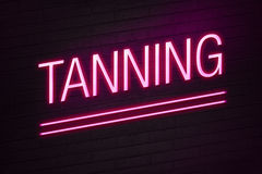 Tanning parlour neon sign. Pink neon sign with tanning text on wall Royalty Free Stock Image