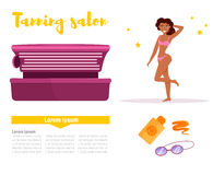 Tanning salon. Isolated art. Vector Cartoon Flat Royalty Free Stock Image