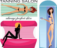 Tanning salon, woman sunbathe in solarium, set image and silhouette girl in tanning salon. Vector illustration of tanning salon, woman sunbathe in solarium, set Stock Photos