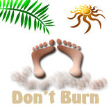 Tanning sign. Tropical beach  vacation, don't burn, sign abstract Royalty Free Stock Images
