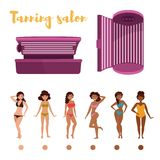Tanning. Stages of tan. Indoor tanning. Stages of tan. Isolated art on white background. Vector. Cartoon. Flat Stock Photo