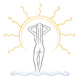 Tanning symbol. Illustration of naked slim woman tanning on sunlight Stock Image