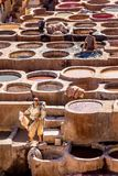 The Tanning Vats at the Chouara Tannery in Fez, Morocco Stock Photos