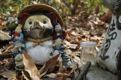 Tanooki. Dog raccoon nimal bottole leafs japan stock images