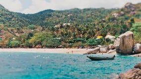 Tanot podpalana piękna plaża i tropikalni drzewka palmowe Obrazy Stock