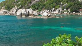 Tanotebaai op zonnige dag Gegolft oceaanwater over beautiffull Coral Reef Diverse praktijk in de blauwe baai Koh Tao stock video