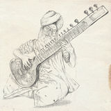 Tanpura Player. Freehand Sketch. Full Sized, Orignal. Stock Photography