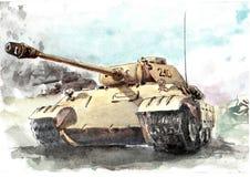 Tanque da aquarela, Pantera Ilustração do Vetor