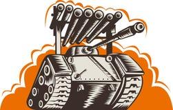 Tanque de guerra com lançador de foguete Fotos de Stock
