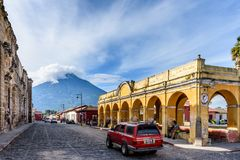 Tanque de la Union & Agua volcano, Antigua, Guatemala stock photo