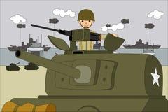 Tanque de sherman do americano nas praias de aterrissagem em normandy França ilustração royalty free