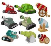 Tanque dos desenhos animados/ícone ajustado arma do canhão Fotografia de Stock Royalty Free