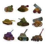 Tanque dos desenhos animados/ícone ajustado arma do canhão Fotografia de Stock
