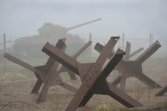 Tanque e armadilhas da segunda guerra mundial Fotografia de Stock Royalty Free