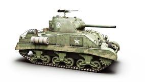 Tanque médio blindado do combate da guerra mundial 2 americanos do vintage em um fundo branco Wwii ilustração stock
