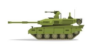 Tanque militar Equipamento pesado Corpo blindado Muito ferro Canhão, metralhadora ótica da revisão, escudos Veículos seguidos ilustração do vetor