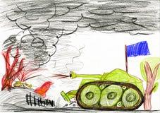 Tanque na batalha da guerra Desenho de um pai e de um filho Imagem de Stock Royalty Free