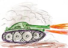 Tanque na batalha da guerra Desenho de um pai e de um filho Fotos de Stock Royalty Free