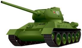 Tanque T-34 na ilustração do vetor da perspectiva Fotos de Stock Royalty Free