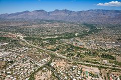 Tanque Verde Creek and the Santa Catalina Mountains Stock Photo